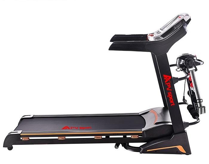 APVsport Bieżnia elektryczna do biegania i chodzenia APV900, ekran LCD, dodatkowe wyposażenie masażer, hantle, brzuszki, mata, pas biegowy 130x38cm