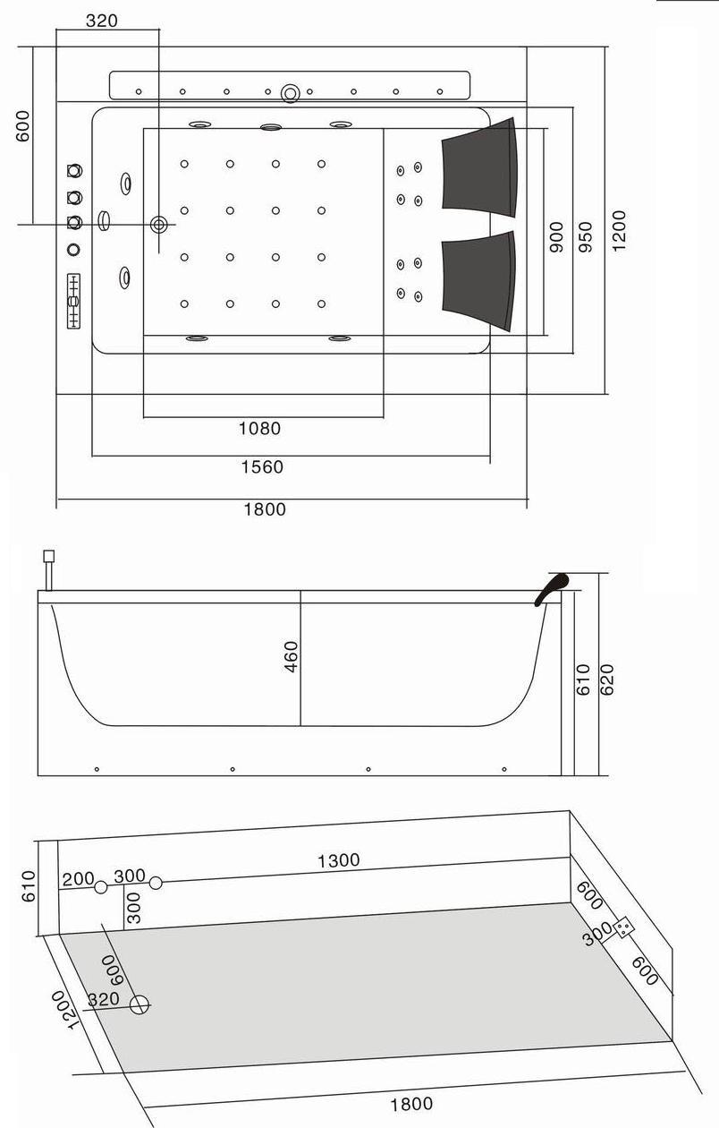 W31 Wanna prostokątna z hydromasażem 180x120 WERSJA PRAWA