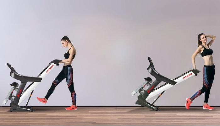 APVsport Bieżnia elektryczna do biegania i chodzenia APV600, ekran LCD, dodatkowe wyposażenie masażer, hantle, brzuszki, mata, pas biegowy 125x38cm
