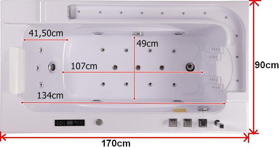 Treg W58 Wanna prostokątna z hydromasażem 170x90