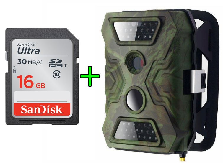XR5 Kamera leśna FOTOPUŁAPKA 12MP PIR + SanDisk 16GB