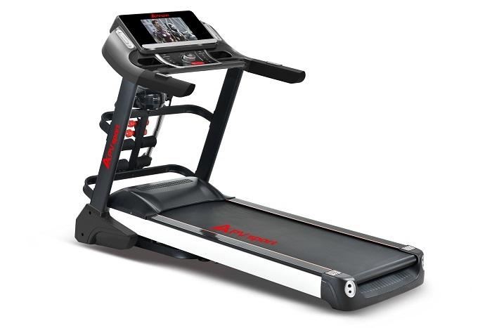 APVsport Bieżnia elektryczna do biegania i chodzenia APV5500, ekran TFT ANDROID 10.1 cala, dodatkowe wyposażenie masażer, hantle, brzuszki, mata, pas biegowy 135x48cm
