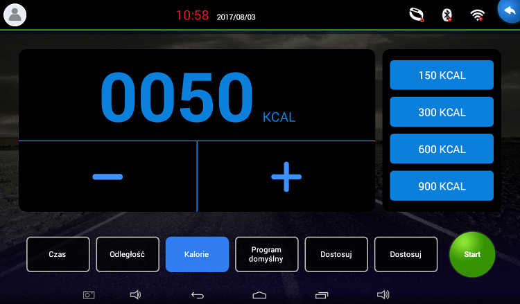 APVsport Bieżnia elektryczna do biegania i chodzenia APV5000, ekran TFT ANDROID 7 cali, dodatkowe wyposażenie masażer, hantle, brzuszki, mata, pas biegowy 130x40cm