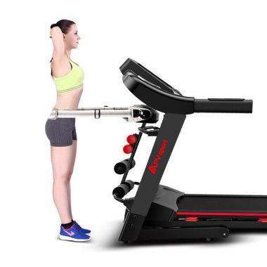 APVsport Bieżnia elektryczna do biegania i chodzenia APV8000, ekran TFT ANDROID 10.1 cala, dodatkowe wyposażenie PROMOCJA! - masażer, hantle, brzuszki, mata, pas biegowy 145x58cm