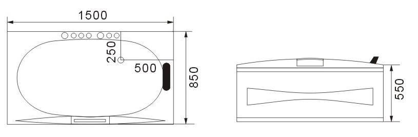 W10 Wanna prostokątna z hydromasażem 170x85