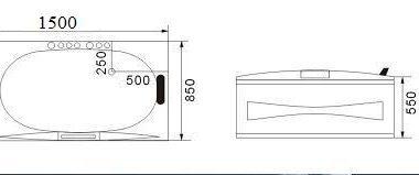 W09 Wanna prostokątna z hydromasażem 150x85